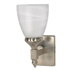 Nuvo Lighting - Triumph Brushed Nickel One-Light Bath Fixture with Sculptured Alabaster Glass - Triumph Brushed Nickel One-Light Bath Fixture with Sculptured Alabaster Glass Nuvo Lighting - 60/591