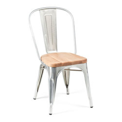 Industry West - Flanders Chair - Super Scandinavian! The Flint Bar Stool pairs tight wooden slats with sleek steel legs for a perfect outdoor seat for any long summer night under the stars...We love the contrast between the rounded corners up top and trompe l'oeil-like hard edges in the legs...