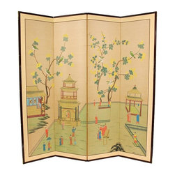 Oriental Furniture - 6 ft. Tall Enter The Pagoda Room Divider - The pagoda was considered sacred space in the ancient Far East, and is beautifully depicted in this motif. Note that no two renderings are exactly the same. Subtle, beautiful hand painted wall art.
