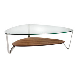 BDI - Dino Coffee Table - The Large Dino Coffee Table from BDI has a sleek and elegant design. The table has an organic and asymmetrical shape. The legs are made of steel and the table top is glass. The table legs converge to prop up a middle shelf. The shelf is available in 3 color options.