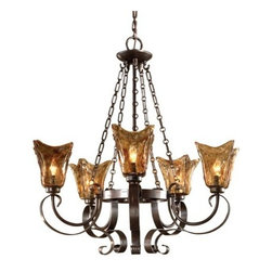 Uttermost - Uttermost 21007 5 Light Single Tier Chandelier with Handmade Glass Shades from t - Uttermost 21007 Carolyn Kinder Vetraio 5-Lt ChandelierHeavy hand made glass is held in classic European iron works giving these pieces a contemporary quality, with strong traditional appeal as well.Features: