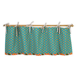 Cotton Tale Designs - Gypsy straight Valance - A quality baby bedding set is essential in making your nursery warm and inviting. All Cotton Tale patterns are made using the finest quality materials and are uniquely designed to create an elegant and sophisticated nursery. The smart little cotton valance in turquoise designs with stripe trim and dot ties. Valance measures 51 x 16 inches. Machine wash cold water, on gentle cycle separately. Tumble dry low or hang to dry. An adorable valance for your little girls nursery.