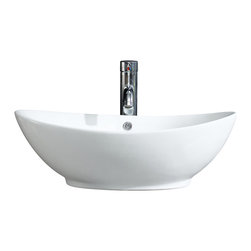 Fine Fixtures - Fine Fixtures White Vitreous China Oval Vessel Sink - Bring added elegance to your bathroom with this Fine Fixtures modern vessel sink.  A welcoming addition to any bathroom or powder room, constructed of durable and stain resistant vitreous china, this oval sink features sleek curved sides, its rounded appearance provides it with a modern and fresh look. Simple yet fashionable in appearance this sink is sure to leave a lofty impression on your bathroom.