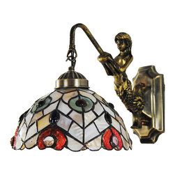 Antique Tiffany Style Peacock Wall Night Light - A perfect wall sconce should have both functional and decorative values. This Tiffany style wall sconce has a handcrafted glass shade with elegant peacock design in vibrant hues, providing both lighting functions and visual interest to your home decor.