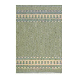 Home Decorators Collection - Pueblo Outdoor Area Rug - Our Pueblo Area Rug offers the look and texture of natural fiber plus all-weather durability. This outdoor rug features bright color combinations popular in the Southwest. Power loomed, this area rug is woven from finely spun 100% Derclon for lasting wear, rain or shine. Durability makes this rug perfect for a high-traffic area such as a family room or kitchen. Quick-drying, non-fading and resists stains and mildew. Exceptionally easy to clean; simply use warm water and a clear detergent.