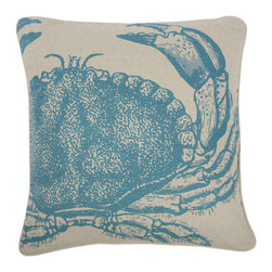 Thomas Paul - Crab Flax Pillow - Bold, graphic, colorful; these are words often used to describe crazy uncles and women's fashion, but they are also the perfect words to describe the textile collection of design industry darling Thomas Paul. His cheerful prints are the perfect addition to any ensemble needing a splash of color. A guaranteed conversation starter.    Flax is another name for linen-flax refers to the plant and seed, whereas linen refers to the fabric that is made from the flax plant. Flax or linen is a very eco friendly fiber.