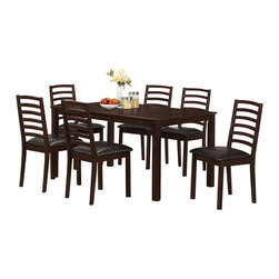 Monarch Specialties - Monarch Specialties 1149 Side Chair in Walnut (Set of 2) - These sturdy walnut-toned wood side chairs compliment the style of the dining table with their slightly flared legs and dark brown leather-look cushion seats. The bent ladder design of the chair backs accentuates and completes the clean and simple look of the dining set.
