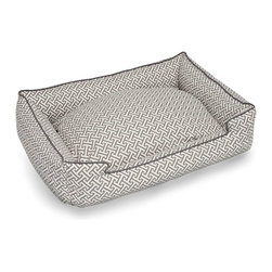 Hera Grey Pet Lounge - 24x18 - Serenely shaded with a small-scale tessellated print in medium grey, the Hera Grey Pet Lounge is made from a smooth cotton that provides a comfortable napping spot in the warmer months, along with easy care and a smooth finish.  Piped edges maintain the plump walls of this deliciously thick and padded pet bed for well-turned-out companions.
