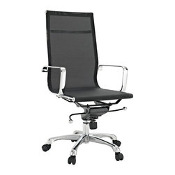 LexMod - Regis Black Mesh Office Chair - The Regis mesh office chair is a clean lined stylish choice. Built to last and comfortable, its mesh construction makes it comfortable in all weather.