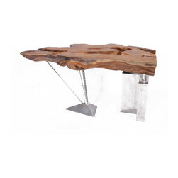 KNOTTED STEEL - Nature Wood Table with Stainless Steel Base - CONTACT US