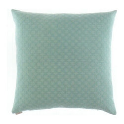 "Canaan - 24"" x 24"" Full Circle Aqua Circles Pattern Throw Pillow - 24"" x 24"" Full circle aqua circles pattern throw pillow with a feather/down insert and zippered removable cover. These pillows feature a zippered removable 24"" x 24"" cover with a feather/down insert. Measures 24"" x 24"". These are custom made in the U.S.A and take 4-6 weeks lead time for production."
