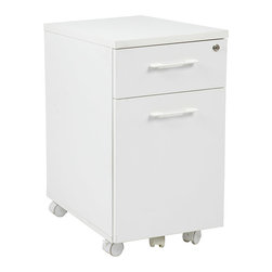 Office Star - Pro-Line II Prado Mobile File Cabinet in White w/ Hidden Drawer & Castors - OSP Designs Prado Mobile File in White with Hidden Drawer and Castors