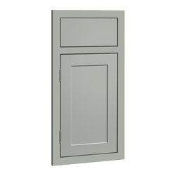 CliqStudios.com - Austin Harbor Gray Paint Shaker Kitchen Cabinet Sample - Austin features an inset slab drawer front paired with a solid hardwood framed inset door and a crisp, detailed recessed panel. The fresh, clean lines and simple recessed panel of Austin blend contemporary and shaker styling to complement any d�cor. The CliqStudios Austin door pairs perfectly with stainless appliances, nickel finish hardware, glass subway tile backsplash, modern bar stools, hardwood floors and granite countertops.  Austin works equally well in an open concept kitchen, galley kitchen, u-shaped kitchen, kitchen island, kitchen peninsula or in a nearby kitchen desk or window seat. Consider coordinating with a variety of recessed lighting, undercabinet task lighting, pendant lighting and other decorative accents.