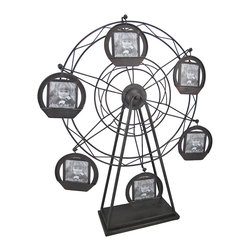 Zeckos - Antique Metal Ferris Wheel Tabletop Photo Display 6 Frames - This metal photo frame is a fun way to display pictures of your family, friends, and pets It is shaped like an antique Ferris wheel, with 6 picture frame 'baskets.' Assembled, this piece measures 24 inches tall, 22 inches wide, 4 3/4 inches deep. Each frame measures approximately 5 inches in diameter, and accommodates a 3 inch square photograph. This attractive home accent makes a wonderful gift, and is sure to be admired.
