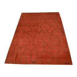 1800-Get-A-Rug - Wool and Silk Red and Brown Hand Knotted Rug Modern Oriental Rug Sh12173 - About Modern & Contemporary