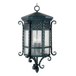Maxim - Maxim Scottsdale 3-Light Country Forge Seedy Glass Hanging Lantern - This 3-Light Hanging Lantern is part of the Scottsdale Collection and has a Country Forge finish and Seedy glass. It is Wet Rated and Outdoor Capable.