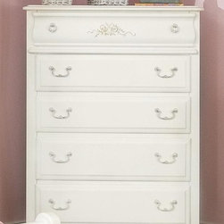 American Woodcrafters - Summerset Antique Style 5 Drawer Chest in Whi - Your Summerset girls' room collection won't be complete without this translucent white chest. It's a beautiful recreation of antique styling that brings out its feminine charms. A bouquet of flowers and ribbons are centerpieces of the apron and top drawer. Summerset Collection. 5 Drawers. Solid wood drawer sides and backs. Veneer drawer bottoms. Drawer fronts are reconstituted MDF wood fibers. Center guided drawers,metal to metal and plastic to plastic with positive drawer stops. Solid wood and wood veneer construction. 1-Year manufacturer's warranty. 38 in. W x 18.5 in. D x 52.5 in. H (126.10 lbs.)