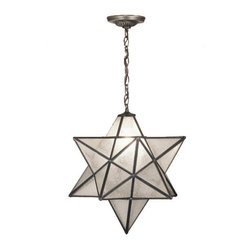 """Meyda Tiffany - 18""""W Moravian Star Seedy Pendant - Grace your home with this timeless ceiling fixture, hand crafted of sparkling Clear Seedy art glass. Dating back to Moravia, hundreds of years ago, the star was used to protect your home and bring good luck to your family. The Meyda Tiffany Moravian Star pendant is suspended from chain and canopy in a Mahogany Bronze hand applied finish."""