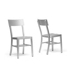 Wholesale Interiors - Helios Modern Aluminum Dining Chairs, Set of 2 - Enhance your interior with our sturdy, lightweight, rust-proof Helios Dining Chair. This stellar seat is made with weather-resistant aluminum, making it a convenient choice for an outdoor eating area. This Chinese-manufactured modern dining room furniture requires assembly and should be wiped clean with a mixture of mild detergent and water. Seat dimensions: 18 inches high x 15.5 inches wide x 15 inches deep. Overall Dimensions: 33.25 inches high x 15.75 inches wide x 19.25 inches long.