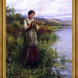 "Daniel Ridgway Knight-16""x20"" Framed Canvas - 16"" x 20"" Daniel Ridgway Knight Baiting the Hook framed premium canvas print reproduced to meet museum quality standards. Our museum quality canvas prints are produced using high-precision print technology for a more accurate reproduction printed on high quality canvas with fade-resistant, archival inks. Our progressive business model allows us to offer works of art to you at the best wholesale pricing, significantly less than art gallery prices, affordable to all. This artwork is hand stretched onto wooden stretcher bars, then mounted into our 3"" wide gold finish frame with black panel by one of our expert framers. Our framed canvas print comes with hardware, ready to hang on your wall.  We present a comprehensive collection of exceptional canvas art reproductions by Daniel Ridgway Knight."