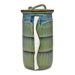 Paper Towel Holders - Glaze Color - Floating Blue in Green - Blue Accent