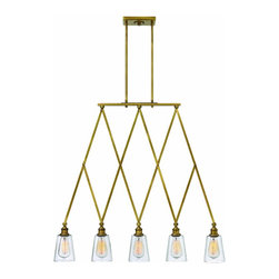 Hinkley Lighting - Chandelier Gatsby - Gatsby has a retro modern aesthetic inspired by a vintage accordion-style elevator gate. Mid-century design details like authentic cast sockets and clear glass shades add to its nostalgic appeal.