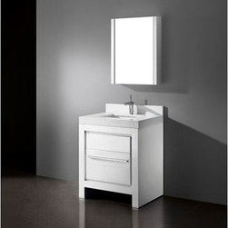 """Madeli - Madeli Vicenza 30"""" Bathroom Vanity with Quartzstone Top - Glossy White - Madeli brings together a team with 25 years of combined experience, the newest production technologies, and reliable availability of it's products. Featuring sleek sophisticated lines Madeli vanities are also created with contemporary finishes and materials. Some vanities also feature Blum soft-close hardware. Madeli also includes a Limited 1 Year Warranty on Glass Vessels, Basin, and Counter Tops. Features Base vanity with two soft-close drawers Glossy White finish Polished Chrome handle and leg finish 3""""H Quartzstone Countertops come in White or Soft Grey finish Quartzstone Countertops come with single faucet or 8"""" widespread faucet holes Ceramic undermount sink with overflow Faucet and drain are not included Backsplash included Matching mirror and medicine cabinet available Limited 1 Year Warranty on Glass Vessels, Basin, and Counter Tops How to handle your counter Spec Sheet Installation Instructions"""