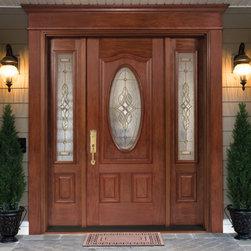 Tru Tech Doors - Single Fiberglass Door, with Doorlite & 2 Sidelites / Decorative Glass Inserts -