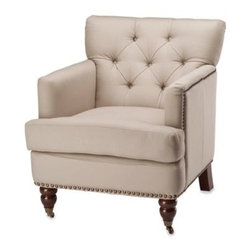 Safavieh - Safavieh Colin Tufted Club Chair in Ecru - Enjoy the unrivaled comfort of a tufted club chair with this sumptuously soft offering from Safavieh. The Colin club chair is upholstered in a soft ecru cotton and stands upon sturdy birchwood legs finished in a rich, dark cherry.