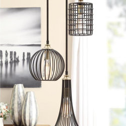 None - Renate Trio Chandelier - Add a unique look to your room while brightening it up with this contemporary iron chandelier. Each of the chandelier's three bulbs is encased in a different black iron shape, creating a stunning light source that's sure to get your guests talking.