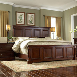 """Martin Home Furnishings - Mount View Queen Panel Bed - Features: -Mount View collection. -Finish: Cobblestone Cherry. -Easy-to-attach rails. -Adjustable foot support for slats. -Designed for use with box spring and mattress. Dimensions: -Footboard: 25"""" H x 65.5"""" W x 5.5"""" D, 80 lbs. -Headboard: 62.5"""" H x 65.5"""" W x 5.5"""" D, 141 lbs. -Side Rails: 2"""" H x 81"""" W x 6.75"""" D, 70 lbs."""