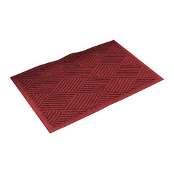 Bungalow Flooring - 24 in. L x 36 in. W Red & Black Waterguard Diamonds Mat - Made to order. Distinct design traps dirt, resists fading, rot and mildew. Indoor and outdoor use. 24 in. L x 36 in. W x 0.5 in. H