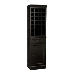 Modular Wine Grid & Cabinet Bar Tower, Black - A stylish alternative to built-in cabinetry, the Modular Bar Tower organizes, stores and displays entertaining essentials. Open Hutch: 18'' wide x 14'' deep x 34'' high Wine Grid Base: 18'' wide x 13.5'' deep x 36'' high Crafted of mahogany, hardwood and mahogany veneers. Includes one Hutch and one Wine Grid Base. Hutch can hold a total of nine hanging wine glasses. Wine grid base can hold a total of 24 wine bottles. Wood swatches, below, are available for $25 each. We will provide a merchandise refund for wood swatches if they're returned within 30 days. Catalog / Internet Only. View our {{link path='pages/popups/fb-dining.html' class='popup' width='480' height='300'}}Furniture Brochure{{/link}}.