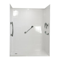 "Ella's Bubbles - Ella Freedom Barrier Free, Roll In Shower 60""W x 33.375""D x 77.75""H, Left Drain - The Ella Freedom, (5-Piece) 60 in. x 33 in. Roll in Shower is manufactured using premium marine grade gel coat fiberglass which creates a smooth, beautiful, long lasting surface with anti-slip textured shower base floor. Ella Freedom Barrier Free Shower walls are reinforced with wood and steel providing flexibility for seat and grab bar installation at needed height for any size bather. The integral self-locking aluminum Pin and Slot System allows the shower walls and the pre-leveled shower base to be conveniently installed from the front. Premium quality material, no need for drywall or extra studs for fixture support, 30 Year Limited Lifetime Warranty (on shower panels) and ease of installation make Ella Barrier Free Showers the best option in the industry for your bathtub replacement or modification needs."