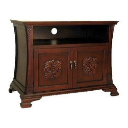 Wayborn - Medallion TV Cabinet - 1 Shelf. 2 Doors. Made from Basswood. Craved with a Smooth finish. Shelf Dimensions: 26 in. W x 16 in. D x 5.75 in. H. Behind Doors: 25 in. W x 15.5 in. D x 6 in. H. Overall Dimensions: 35.5 in. W x 17 in. D x 26 in. H (68 lbs.)