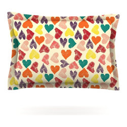 """Kess InHouse - Louise Machado """"Little Hearts"""" Pillow Sham (Woven, 30"""" x 20"""") - Pairing your already chic duvet cover with playful pillow shams is the perfect way to tie your bedroom together. There are endless possibilities to feed your artistic palette with these imaginative pillow shams. It will looks so elegant you won't want ruin the masterpiece you have created when you go to bed. Not only are these pillow shams nice to look at they are also made from a high quality cotton blend. They are so soft that they will elevate your sleep up to level that is beyond Cloud 9. We always print our goods with the highest quality printing process in order to maintain the integrity of the art that you are adeptly displaying. This means that you won't have to worry about your art fading or your sham loosing it's freshness."""