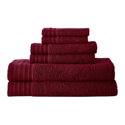 Spring Bloom QuickDry Egyptian Cotton 6-piece Towel Set  Biking Red - Indulge yourself in spa like luxury with this luxurious six-piece towel set. The set is made of Egyptian cotton known for its softness, absorbency, and durability. These towels make an ideal complement to any bathroom whether you use it to pamper yourself or reserve it for special guests. Egyptian cotton fibers are valued for their superior length and strength, which also reduces the buildup of pile and lint. These towels will feel cozy and comfortable against your skin every time you use them. Additionally the towels get softer with washing and drying.