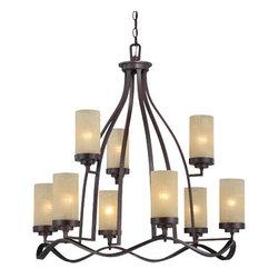 Designer Fountain - Castello 9-Light Chandelier - 9-Light Chandelier, 10ft Chain included