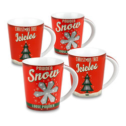 Konitz - Vintage Christmas Mugs, Set of 4, 2 Snow & 2 Icicles - Celebrate Christmas the old-fashioned way with these retro holiday mugs. White, red and green design of Christmas trees and snowflakes.