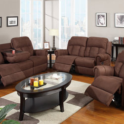 Modern Chocolate Microfiber Reclining Motion Sofa Loveseat Console - Delight in leisure and entertainment with this motion sofa set in smooth chocolate microfiber. Three reclining pieces can be arranged to create a space for friends and family. Not only does the sofa recline but it also includes a center console to hold drinks providing easy access.