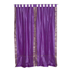 Indian Selections - Pair of Lavender Tab Top Sheer Sari Curtains, 43 X 96 In. - Size of each curtain: 43 Inches wide X 96 Inches drop