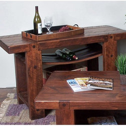 2 Day Designs - 2 Day Designs Reclaimed Russian River Wine Console Table Multicolor - WV108 - Shop for Wine Bottle Holders and Racks from Hayneedle.com! The Russian River console table by 2-Day Designs lets you do your part for the environment by use of recycled beautiful white oak wine barrels. Master woodcrafters at 2-Day Designs have found that the barrel's mellow age and true wood grain character make wonderful furniture. After the table is carefully fashioned and crafted into fine furniture the rich pine finish is added highlighting the table's natural grain beauty. Measuring 50W x 20D x 30H inches this table features classic Shaker/ Mission styling for an old world look and its sturdy construction promises that it will remain beautiful for another 100 years. Each step of the process is carefully monitored to ensure that the highest quality standards are maintained from beginning to end. Be sure to check out this and all the other unique eco-friendly furniture products offered by 2-Day Designs.About 2-Day Designs2-Day Designs furniture offers a wide variety of environmentally friendly furniture. Located in Eastanollee Ga. their unique collections feature recycled antique lumber whenever possible. From dining tables and chairs to occasional tables hutches cupboards trunks and display cases you'll be drawn to all their creative designs. Each step of the manufacturing process is carefully monitored by journeymen woodworkers to ensure that the highest quality standards are met from beginning to end. Be sure to check out all the unique eco-friendly furniture products offered by 2-Day Designs and take advantage of one of the nation's fastest growing furniture trends.