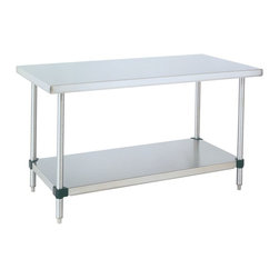 """InterMetro Industries - Metro Stainless Steel Table - 48x30x34 - This classic table doubles as an ideal island work space for your kitchen or loft.  Metros stainless tables also come with a stainless undershelf and are built for cleanliness and stability. Bottom shelf is adjustable in 2""""  increments. All work tables have stationary posts and leveling feet. Seamless 14-gauge type 304 stainless steel work surface. Tables ship knocked down and can be assembled in minutes without tools."""