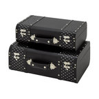 ecWorld - Jewel Studded 2-Piece Decorative Trunk Case Set - Black - These stylish trunk set is both attractive and functional. The trunks come in two different sizes and are ideal for additional storage as well as adding a beautiful decorative touch to any room.