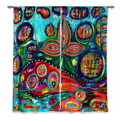 "DiaNoche Designs - Window Curtains Lined by Michele Fauss Whale Wonderland - Purchasing window curtains just got easier and better! Create a designer look to any of your living spaces with our decorative and unique ""Lined Window Curtains."" Perfect for the living room, dining room or bedroom, these artistic curtains are an easy and inexpensive way to add color and style when decorating your home.  This is a woven poly material that filters outside light and creates a privacy barrier.  Each package includes two easy-to-hang, 3 inch diameter pole-pocket curtain panels.  The width listed is the total measurement of the two panels.  Curtain rod sold separately. Easy care, machine wash cold, tumble dry low, iron low if needed.  Printed in the USA."