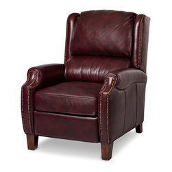 Randall Allan - Odessa Recliner - Doesn't this one stoke your flame just a little? Keep the home fires burning with this rich leather recliner covered in mahogany leather and antiqued nailhead trim. Next to your fireplace, in your library or your home office, it will spark your need for high quality, higher style and highest comfort.