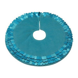 Mini Turq Tree Skirt - This turquoise, sequined tree skirt reminds me of a mermaid's fin — my daughter would go nuts for this.