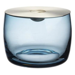 Orb Aqua Ice Bucket - Our seriously stylish Orb mixology collection recalls the decadence and nostalgia of vintage cocktail culture to elevate the home bar. Aaron Probyn's beautiful, functional designs coordinate in an artistic, unexpected mix of metals and multicolored glass. Cased blue glass bowl is handcrafted to give a clear view of ice cubes. Clean, contemporary stainless-steel lid has a minimalist integrated handle and a warm brushed finish.