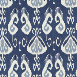 """Ballard Designs - Toscana Ikat Blue Fabric By The Yard - Content: 100% linen. Repeat: Non-railroaded fabric with 25 1/2"""" repeat. Care: Dry clean. Width: 54 1/2"""" wide. Cream & blue Ikat printed on crisp 100% linen.  .  .  .  . Because fabrics are available in whole-yard increments only, please round your yardage up to the next whole number if your project calls for fractions of a yard. To order fabric for Ballard Customer's-Own-Material (COM) items, please refer to the order instructions provided for each product.Ballard offers free fabric swatches: $5.95 Shipping and Processing, ten swatch maximum. Sorry, cut fabric is non-returnable."""