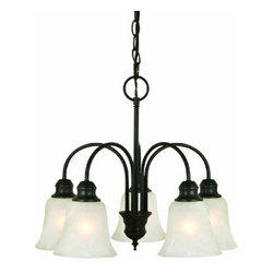 DHI-Corp - Ridgeway 5-Light Chandelier, Oil Rubbed Bronze - The Design House 519322 Ridgeway 5-Light Chandelier is made of formed steel, alabaster glass and finished in oil rubbed bronze. This 5-light chandelier is rated for 120-volts and uses (5) 60-watt medium base incandescent bulbs. This chandelier's sprawling arms feature (5) tulip shaped shades, gently diffusing light from above. Measuring 17-inches (H) by 21-inches (W), this 12-pound fixture comes with a 48-inch chain to hang this elegant chandelier. Curved steel and soft glass create a contemporary centerpiece over your dining room table. This product is UL and CUL listed for safety and quality assurance. The Ridgeway collection features a beautiful matching vanity light, wall sconce and mini pendant. The Design House 519322 Ridgeway 5-Light Chandelier comes with a 10-year limited warranty that protects against defects in materials and workmanship. Design House offers products in multiple home decor categories including lighting, ceiling fans, hardware and plumbing products. With years of hands-on experience, Design House understands every aspect of the home decor industry, and devotes itself to providing quality products across the home decor spectrum. Providing value to their customers, Design House uses industry leading merchandising solutions and innovative programs. Design House is committed to providing high quality products for your home improvement projects.